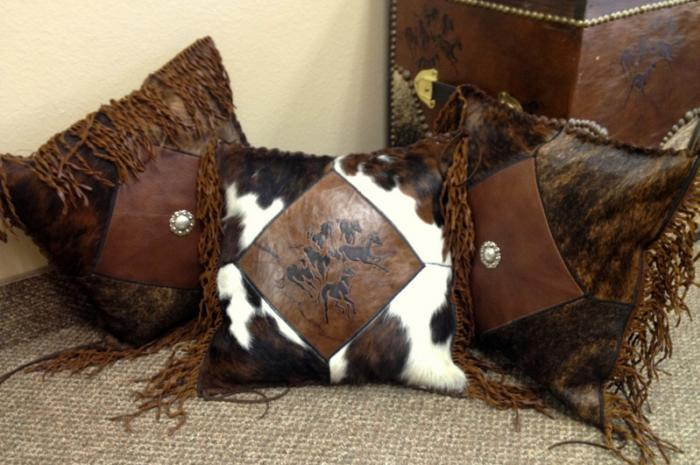 Horses 16″ Custom Leather & Cowhide Hand Laced Accent Throw Pillow With Fringe