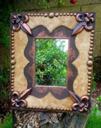 Fleur De Lis Tuscan Drake Style Cowhide Mirror Signature