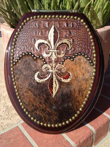 Gorgeous Tuscan Drake Fleur De Lis Decor Cowhide Toilet Seat Signature Cowboy Western Decor