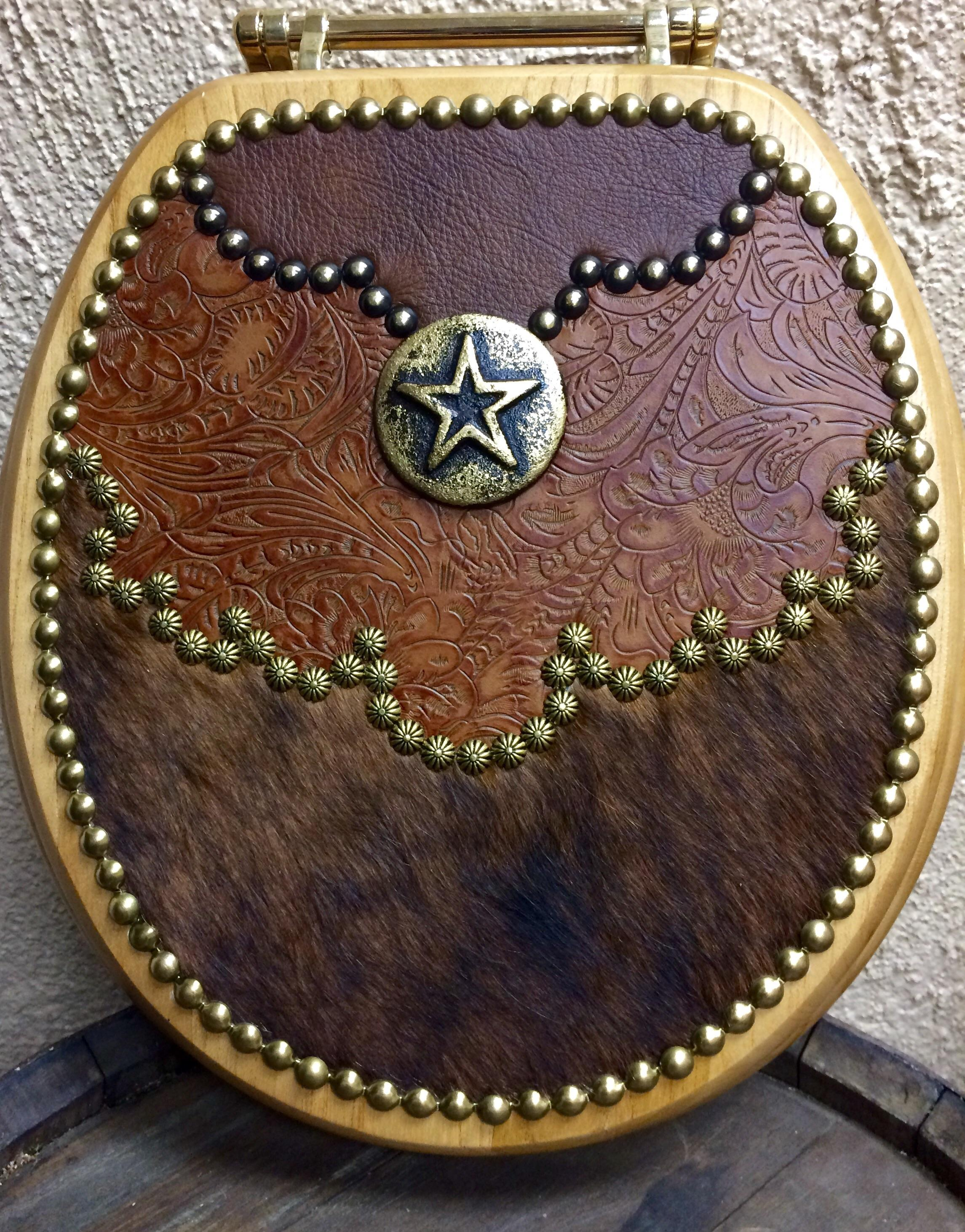 Fancy Tooled Leather Western Decor Hair On Cowhide Toilet