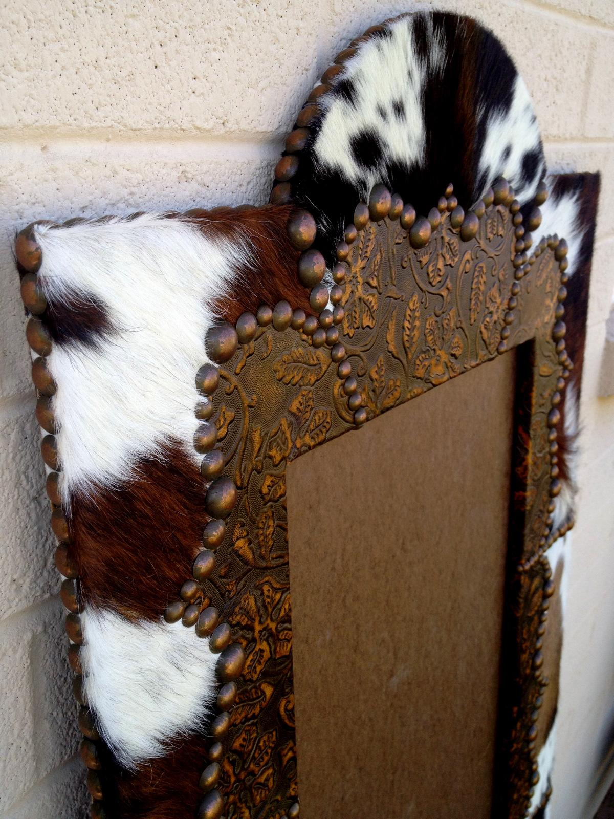 Fancy Full Length Wood Western Cowhide Amp Leather Mirror
