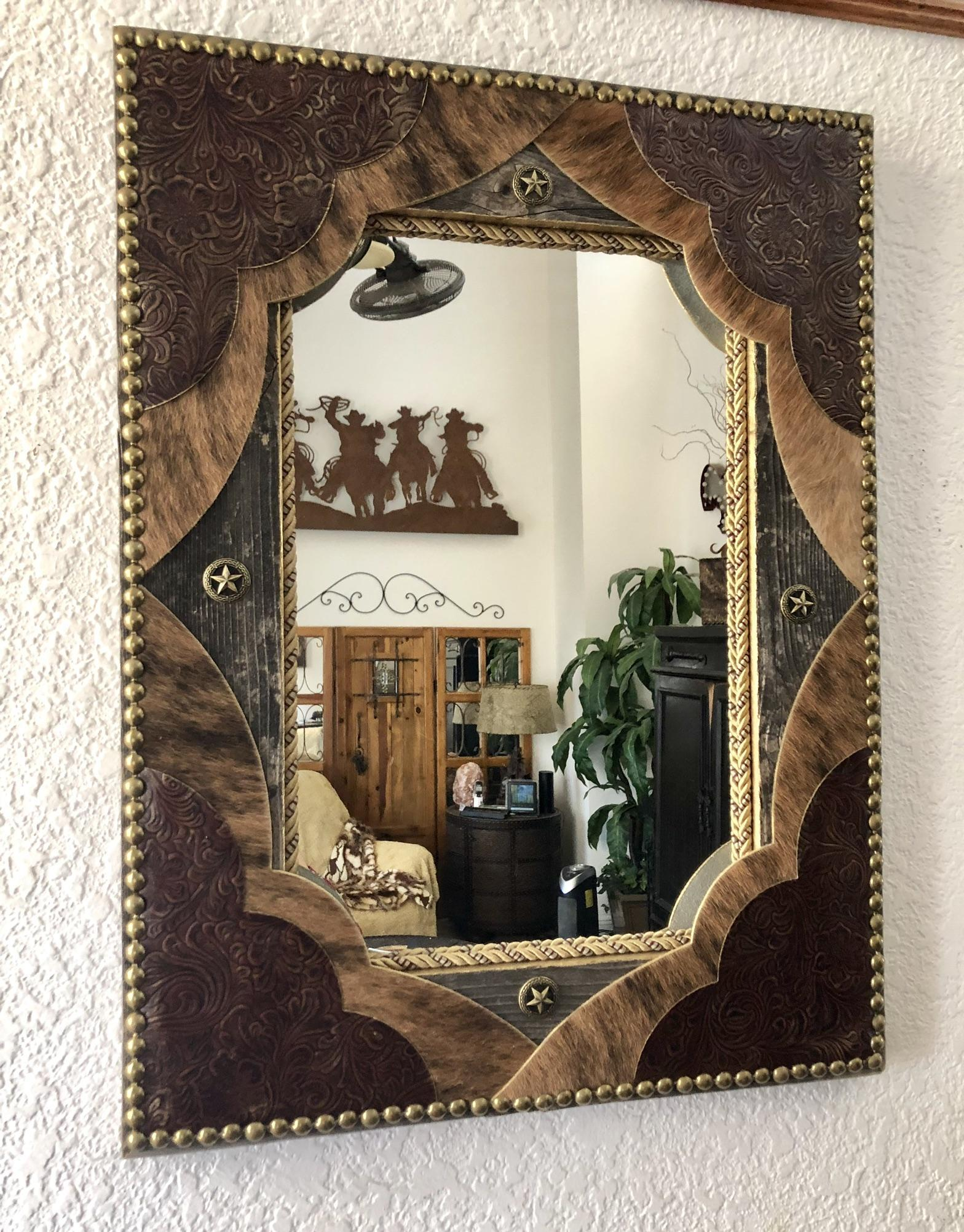 Tooled Leather Amp Cowhide Fancy Western Decor Wall Mirror