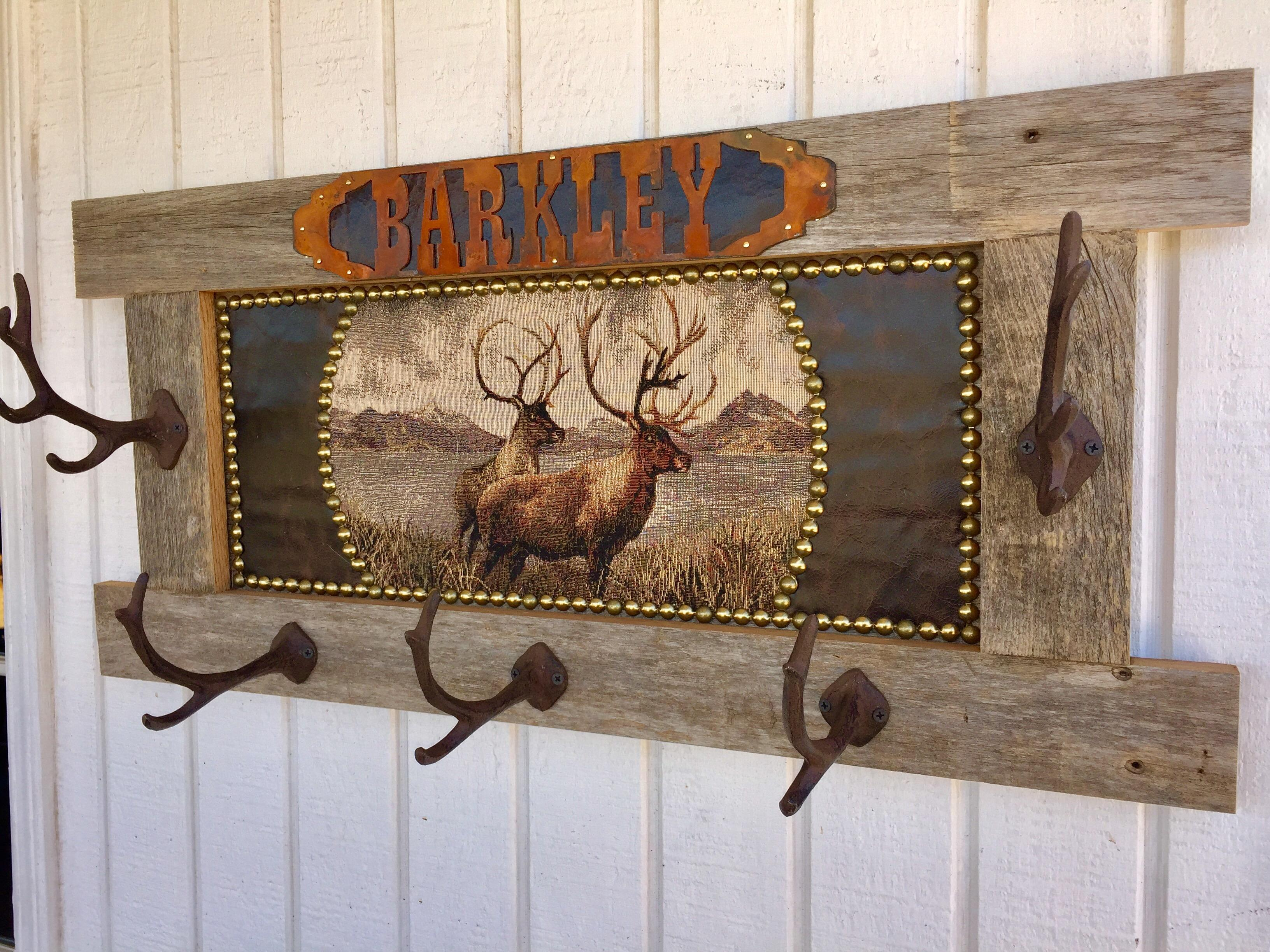 Very best Rustic Barn Wood Personalized Lodge or Cabin Elk Coat Rack  JO46