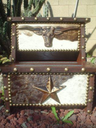 Western Decor Spur Step Stool Cowhide Amp Wood Signature