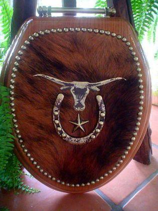 Cowhide Western Decor Longhorn Star Toilet Seat