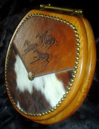 Embossed Running Horses Leather Amp Cowhide Toilet Seat