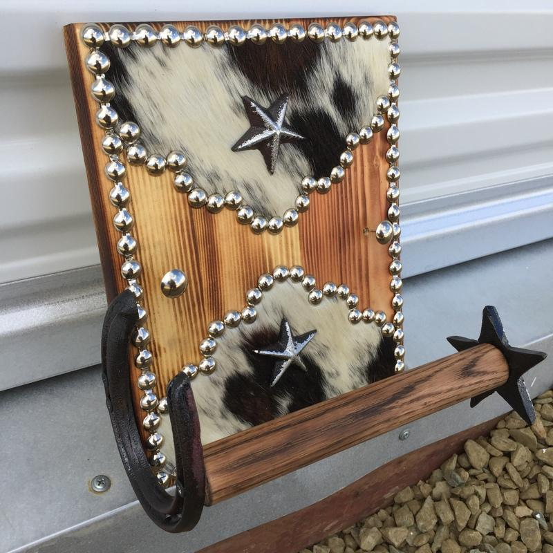 Cowhide Wood Western Decor Wall Mount Toilet Paper Holder