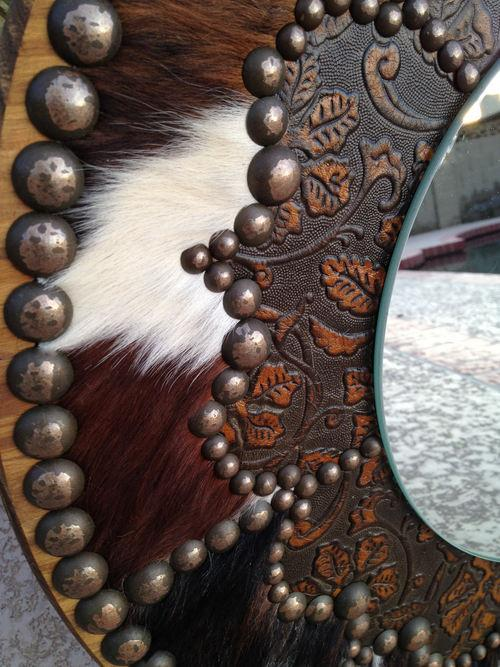 A Fancy Western Round Mirror In Cowhide Amp Embossed Leather